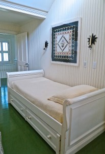 Trundle Bed Guest Bedroom With Framed Miniature Folded Paper Quilt