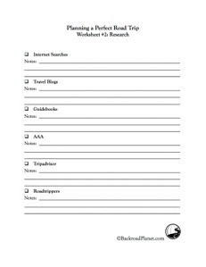 Road Trip Research Worksheet #2