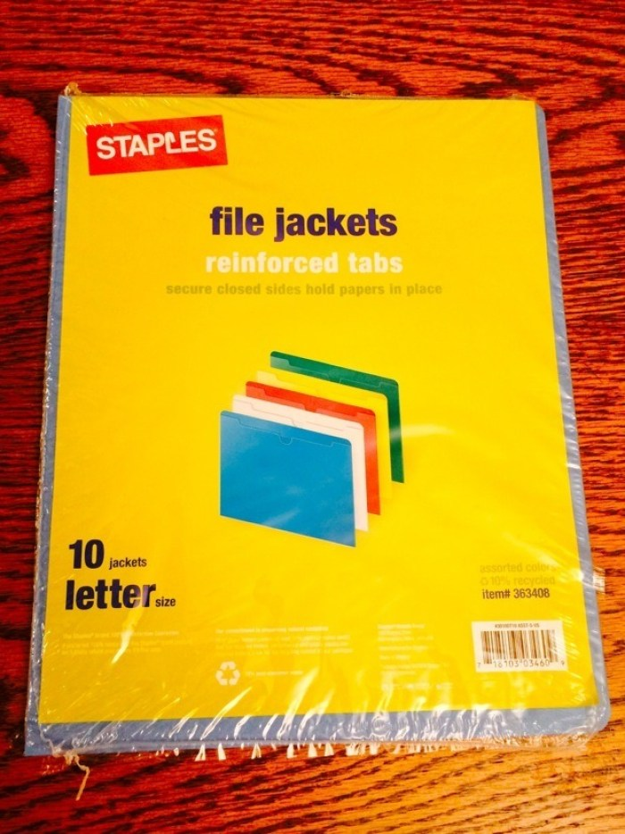 Staples File Jackets