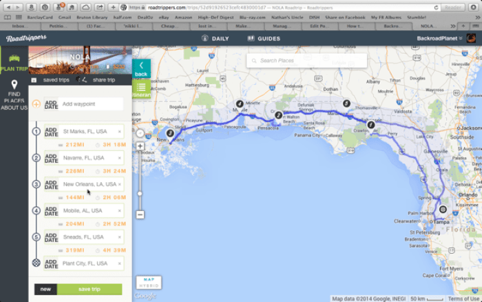 Roadtrippers NOLA Route