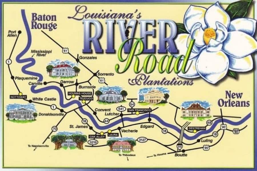 Map Of Plantations Near New Orleans Louisiana's River Road Plantations | Backroad Planet