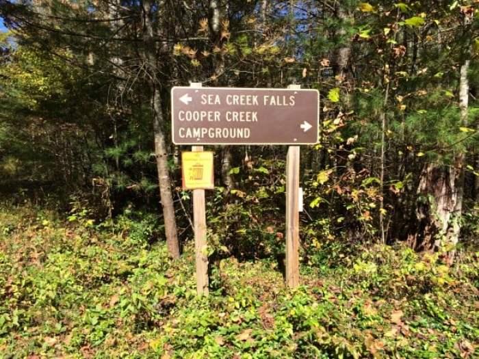 Sign to Sea Creek Falls