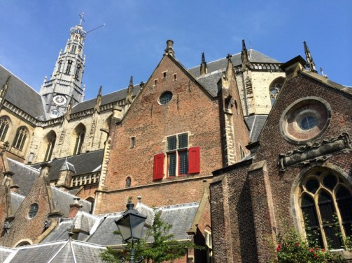 Outside St. Bavo's Church Haarlem, Netherlands.