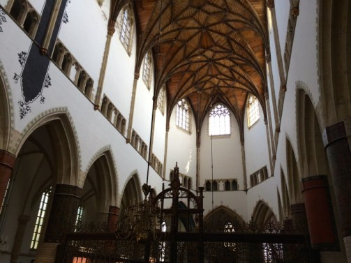 Vaulted ceilings at St. Bavo's church in Haarlem, Netherlands.