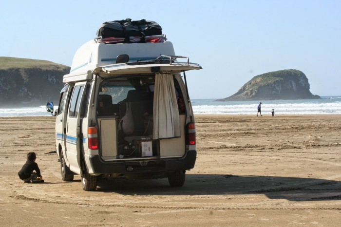 Parked on a beach in the Catlins, South Island