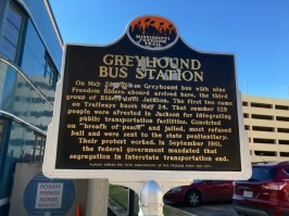 Greyhound Bus Station Jackson Mississippi Freedom Trail Sign