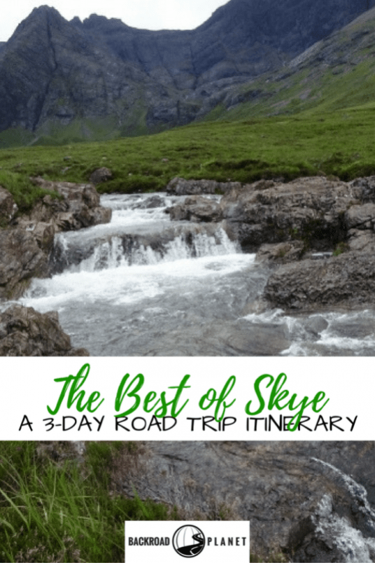 The Best of Skye 3-day road trip itinerary takes you through the scenic Scottish Highlands visiting the Fairy Pools, Kilt Rock, the Quiraing, and much more.
