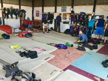 skydiving suit up room