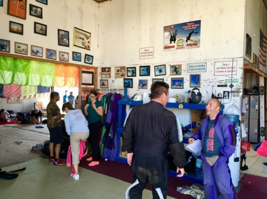 skydivers suiting up
