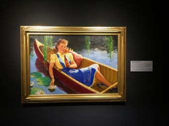 vintage painting of girl in boat with soda