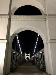 suspension bridge Waco, Texas at night