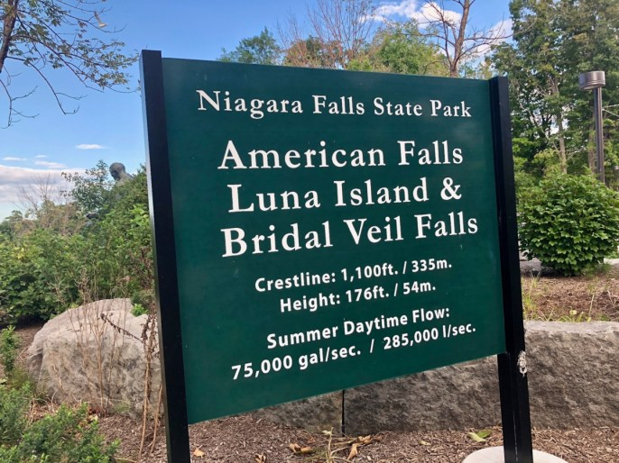 American and Bridal Veil Falls sign
