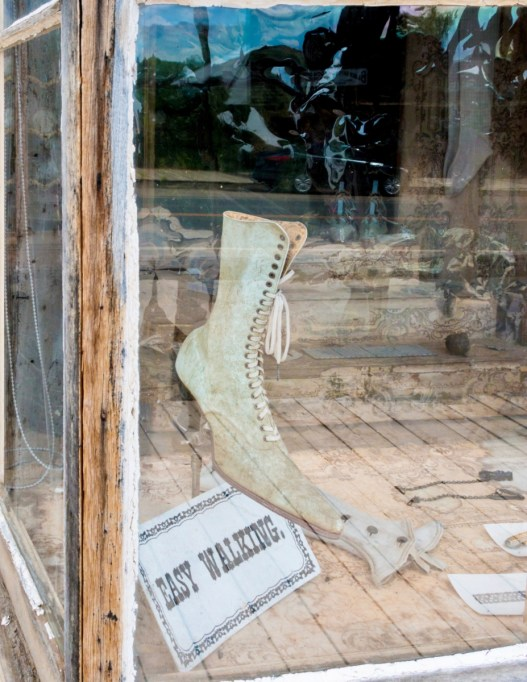 pointed lace-up victorian shoe in store window
