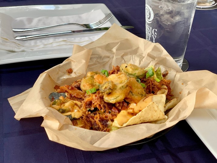 Hops pork nachos with beer cheese