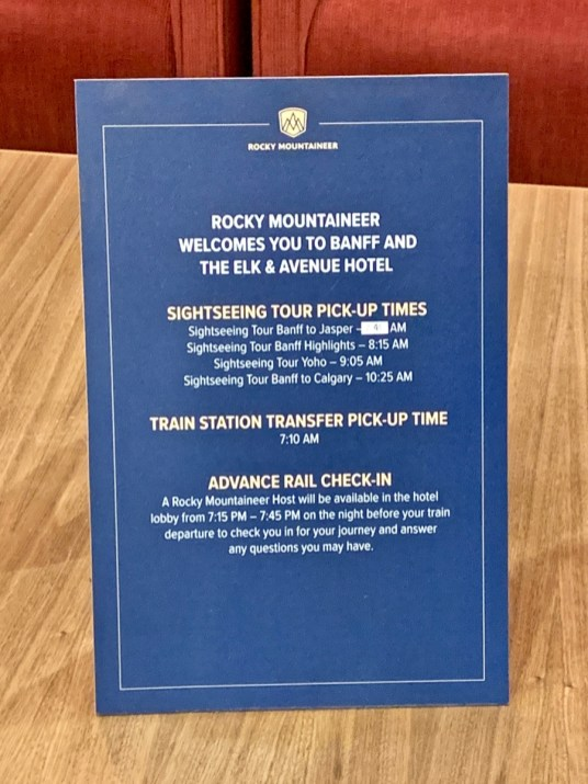Rocky Mountaineer Hotel Schedule Sign