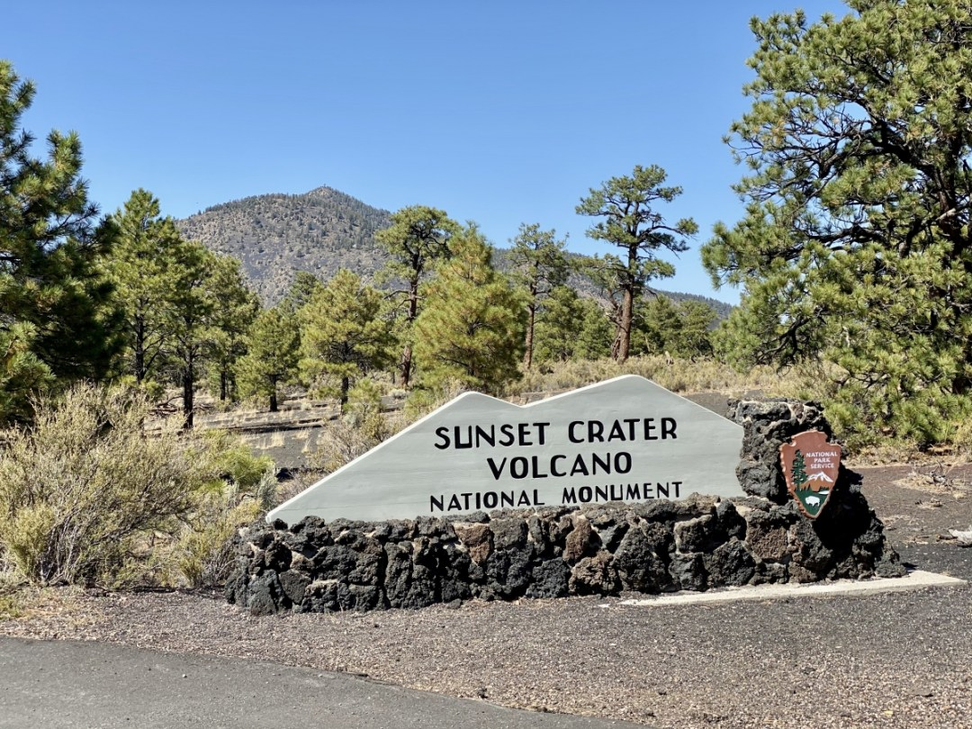 Sunset Crater Volcano NM sign - 3 Magnificent Flagstaff National Monuments
