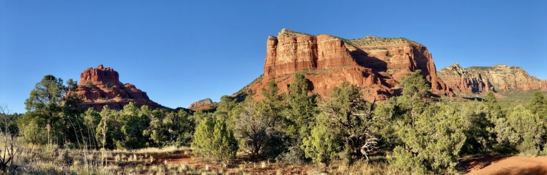 Bell Rock and Courthouse Butte Oak Creek Arizona panorama - 3 Stunning Sedona Scenic Drives