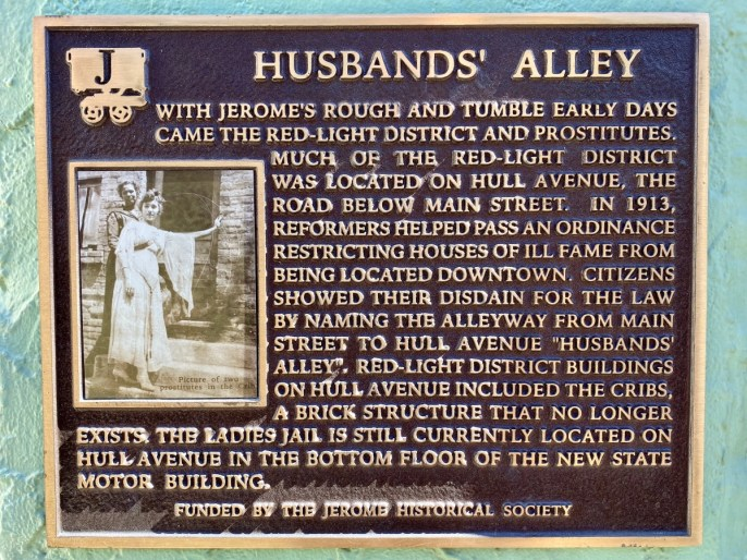 Jerome AZ Husbands Alley marker - 7+ Amazing Attractions in Verde Valley AZ
