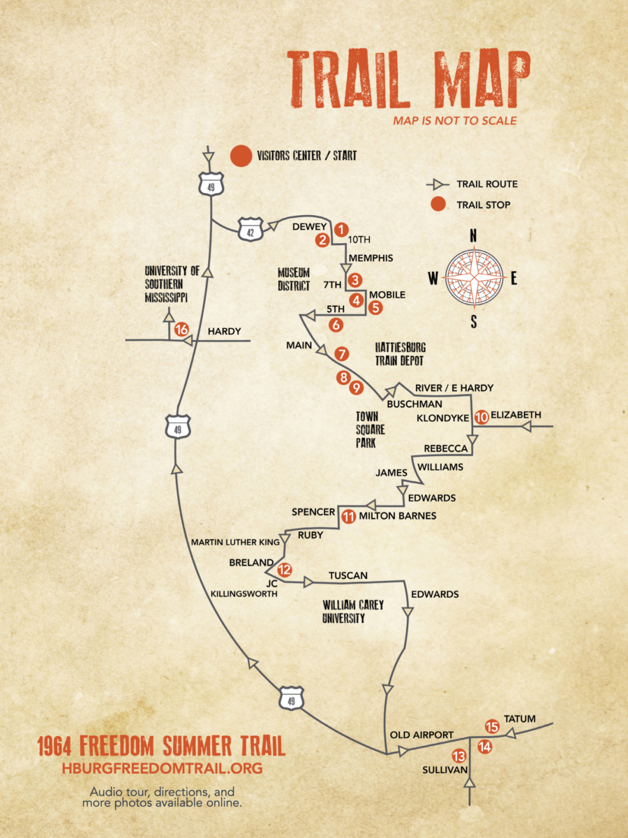 Freedom Summer Trail Map - Explore African American Heritage Sites in Hattiesburg MS