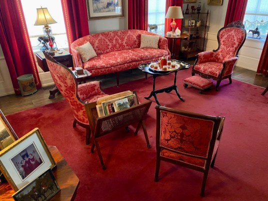 Pebble Hill red room - Encounter Historic Quail Hunt Plantations in Thomasville GA