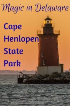 sunset view of the Cape Henlopen Lighthouse