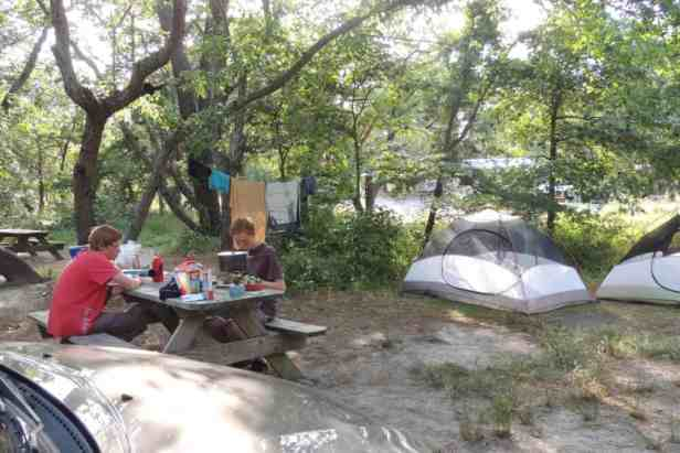 enjoying the campsite at Cape Henlopen State Park