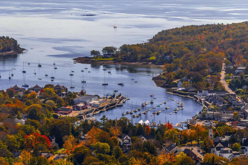 A view of the harbor in Camden, Maine in the fall