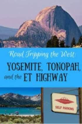 Yosemite Half Dome, June Lake, and a UFO parking sign.