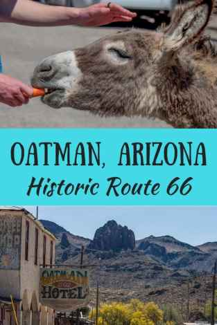A collage of photos from Oatman Arizona with the caption: Oatman, Arizona - Historic Route 66
