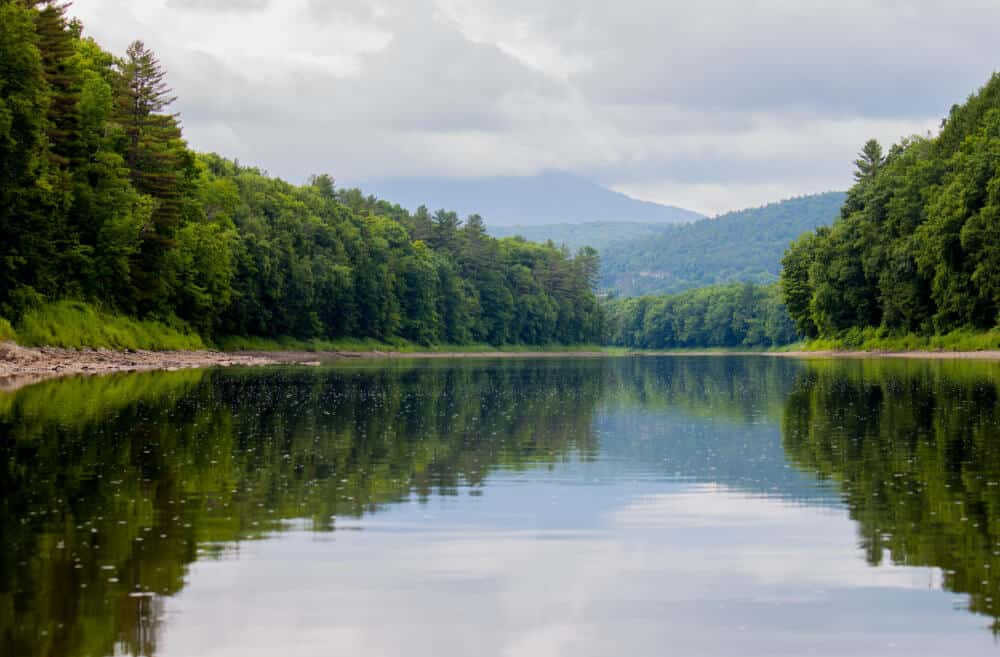 A cloudy view of Mt. Ascutney from the Connecticut River