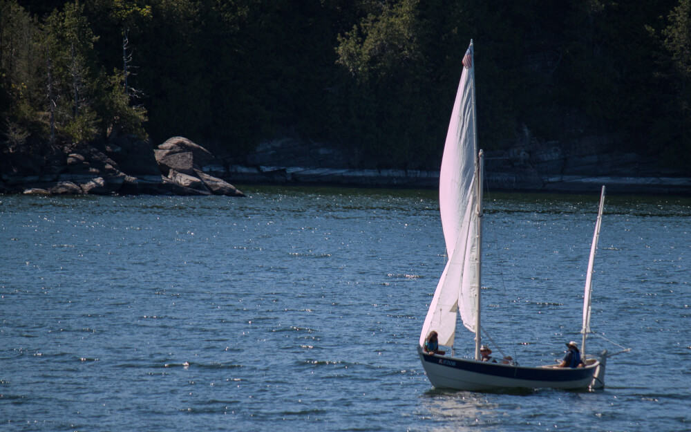 A small sailboat near Kingsland Bay State Park, Vermont