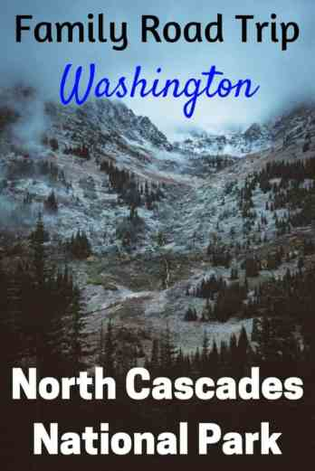 A foggy mountain scene in North Cascades National Park. Caption reads: road trip North Cascades National Park