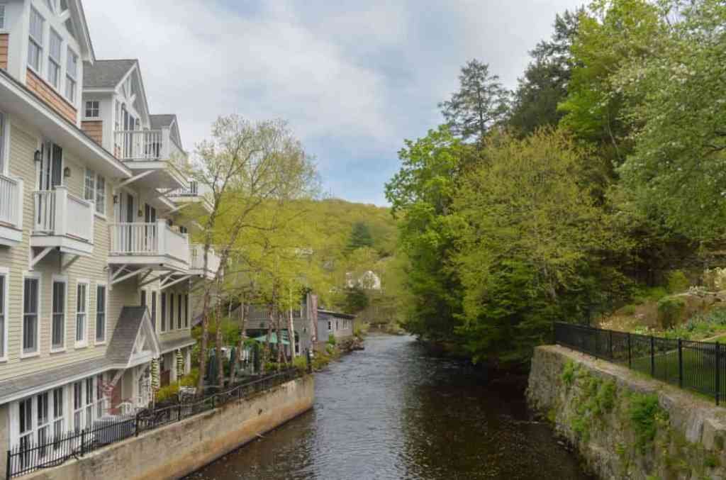 Condos overlooking a canal in Peterborough, NH