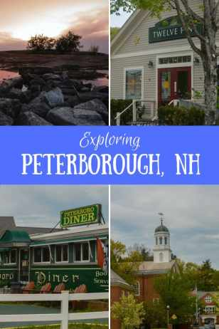 Pinterest post - several images of downtown Peterborough, NH