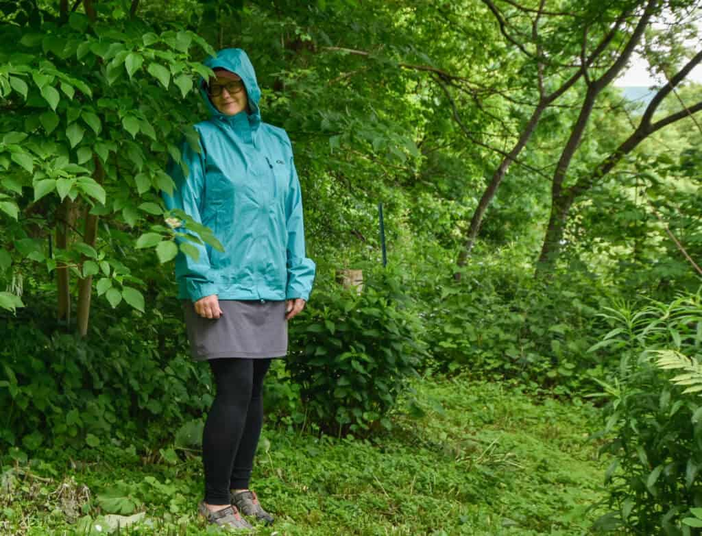 me - wearing the Panorama Point jacket by OR in the rain