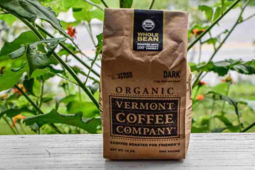 A brown bag of Vermont Coffee Company coffee