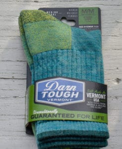 A new pair of Darn Tough Vermont socks in turquoise