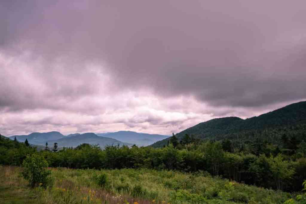 A sunset view of the White Mountains in New Hampshire