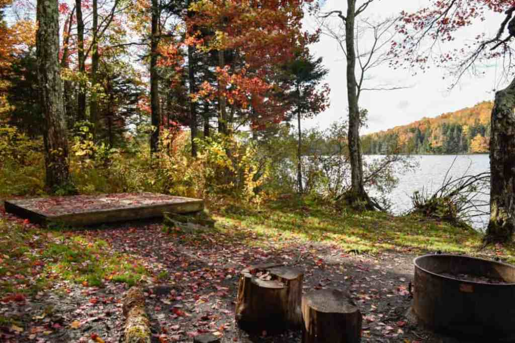 A waterfront campsite in the fall at Grout Pond, VT