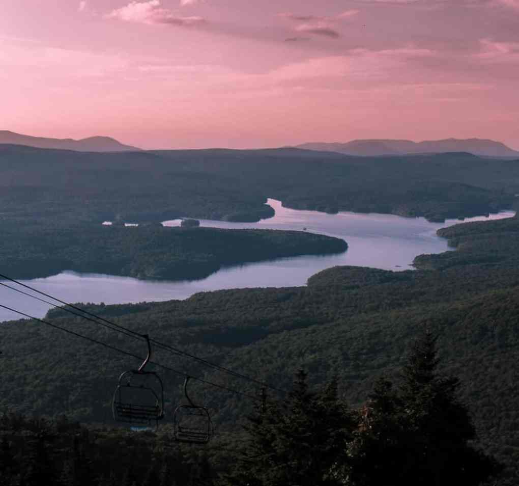 An expansive view of Somerset Reservoir from Mount Snow in West Dover. Sunset