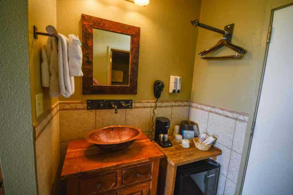 The sink and coffee maker area at Far View Lodge in Mesa Verde National Park