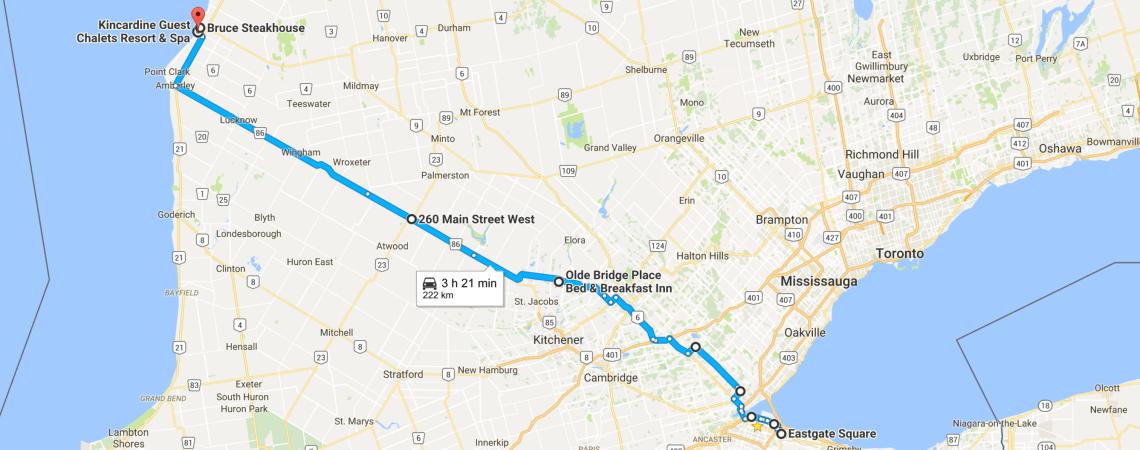 Day 1 Hamilton, ON - Kincardine, ON