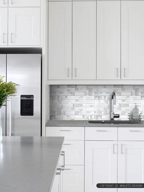 White Glass Metal MODERN BACKSPLASH TILE for Contemporary ... on Modern Backsplash For Dark Countertops  id=22587