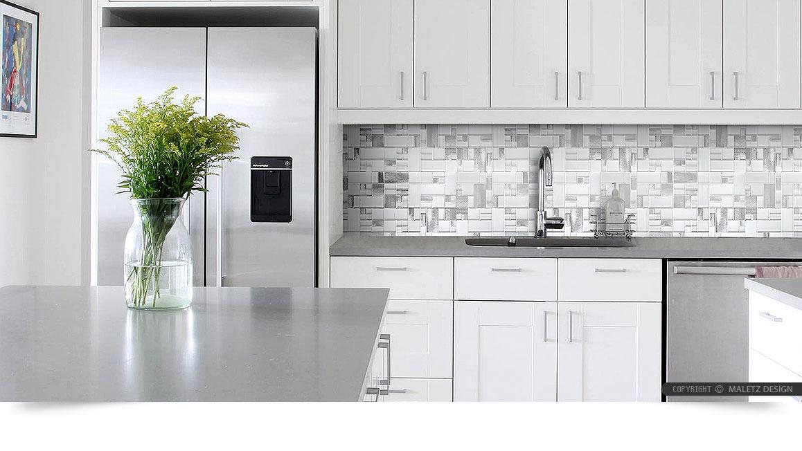 White Glass Metal MODERN BACKSPLASH TILE for Contemporary ... on Modern Backsplash For Dark Countertops  id=13089