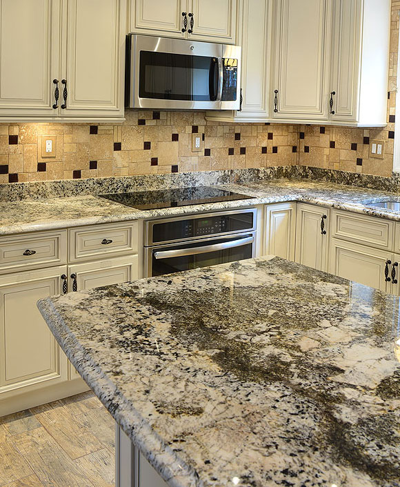 White Kitchen With Dark Backsplash: Travertine Tile Dark Brown Glass Backsplash Tile Ideas