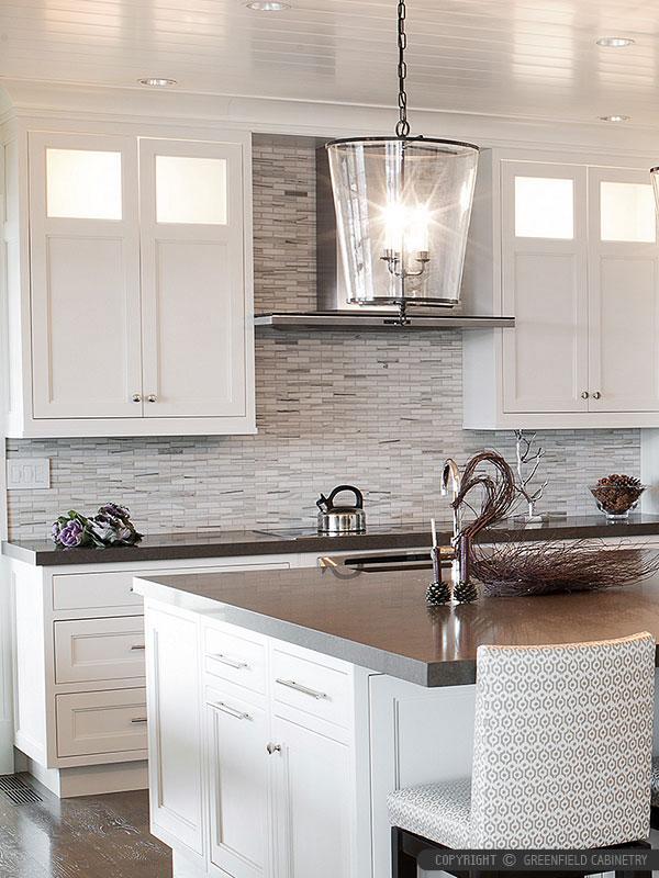 Modern White Gray Subway Marble Backsplash Tile on Modern Backsplash For Dark Countertops  id=32480