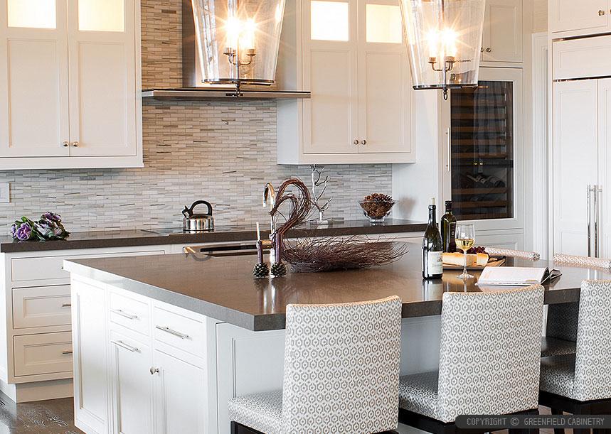 WHITE MODERN SUBWAY Marble Mosaic Backsplash Tile on Backsplash For Black Granite Countertops And Brown Cabinets  id=86768