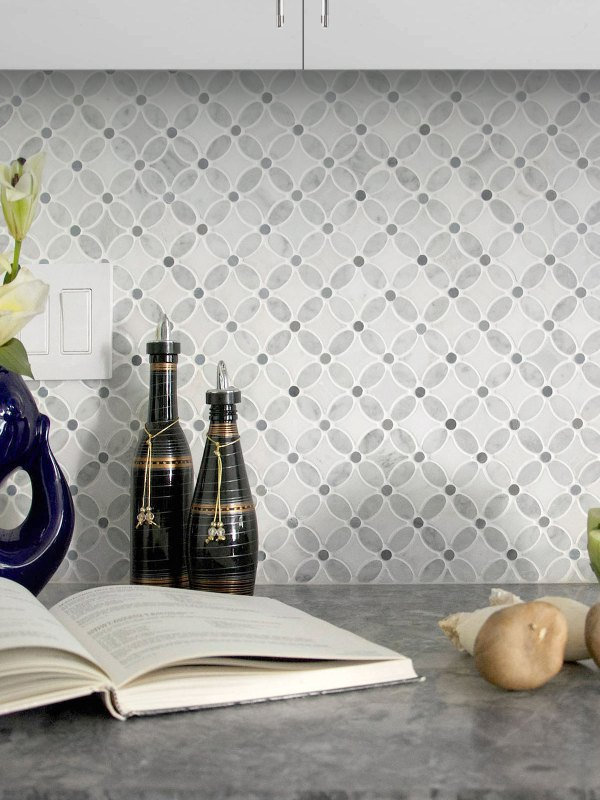 Flower pattern marble mosaic tile gray granite countertop white cabinet BA45056