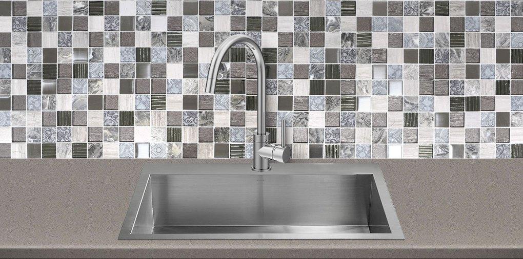 Gray Glass Marble Backsplash Tile Brown Quartz Countertop