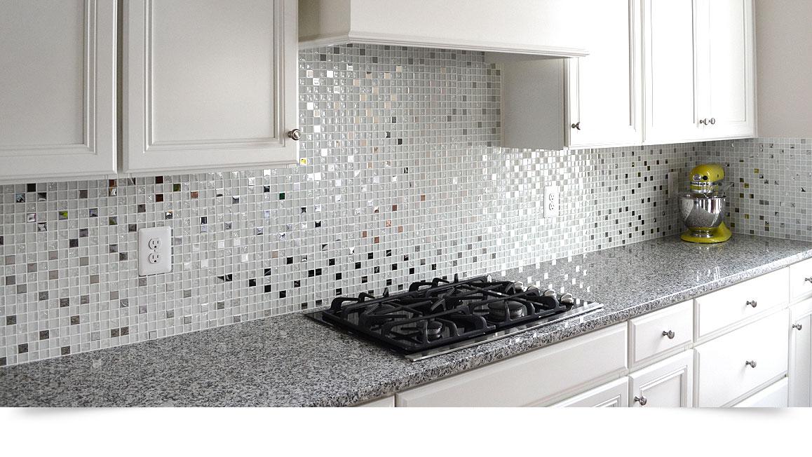 MODERN White Glass Metal Kitchen Backsplash Tile